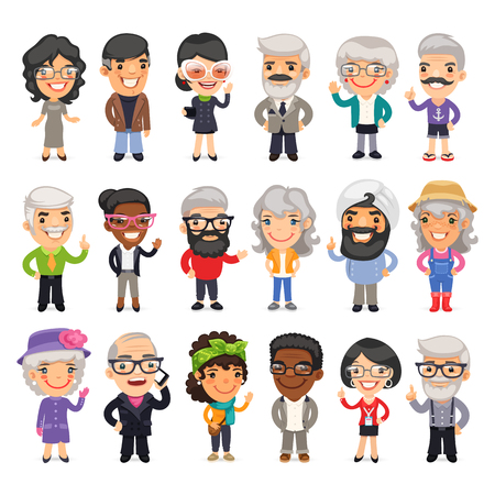 old phone: Set of casually dressed flat cartoon old people. Isolated on white background.
