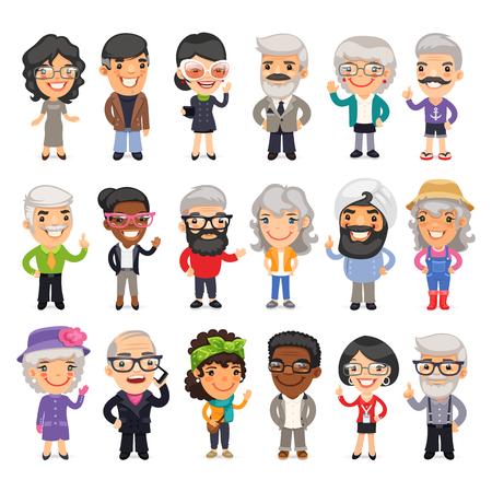 Set van casual gekleed plat cartoon oude mensen. Geïsoleerd op een witte achtergrond. Vector Illustratie
