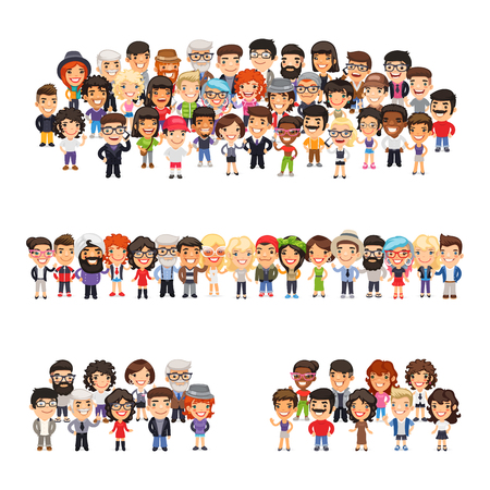 Tree big group of casually dressed flat cartoon people. Isolated on white background.