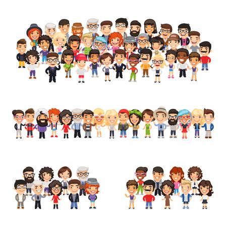 poblacion: Árbol gran grupo de gente de dibujos animados planas ocasional vestidos. Aislado en el fondo blanco. Vectores