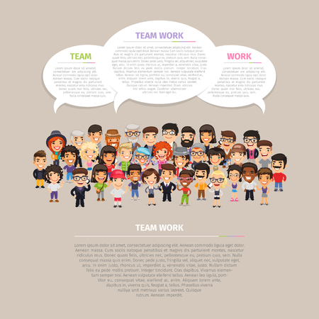 multicultural group: Team work poster with big group of casually dressed flat cartoon people.