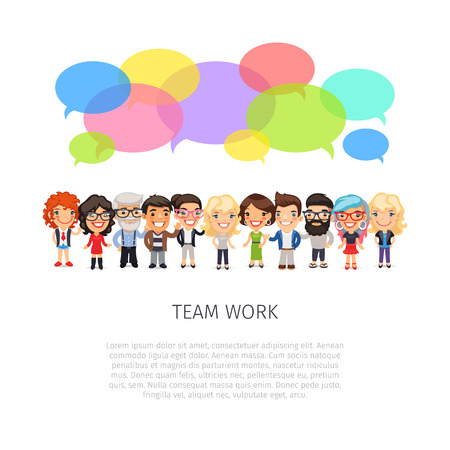 working together: Team work poster with big group of casually dressed flat cartoon people and colorful speech bubbles. Isolated on white background. Illustration