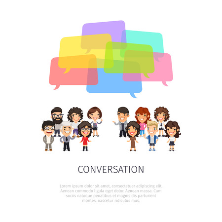 community people: Conversation poster with group of casually dressed flat cartoon people and colorful speech bubbles. Isolated on white background. Illustration