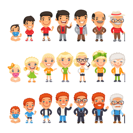 Three characters generations at different ages. Man and woman aging set. Baby, child, teenager, young, adult, old. Isolated on white background.