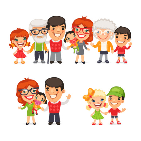 Big and happy family flat cartoon characters set. Isolated on white background.
