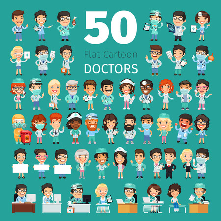 Big set of 50 doctors and other hospital workers.