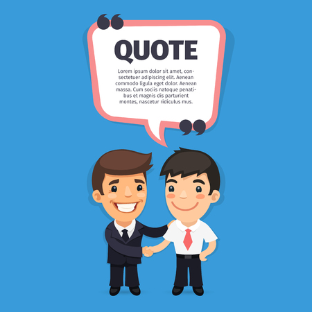 ability to speak: Quote speech banner with flat cartoon boss and trainee. Clipping paths included.