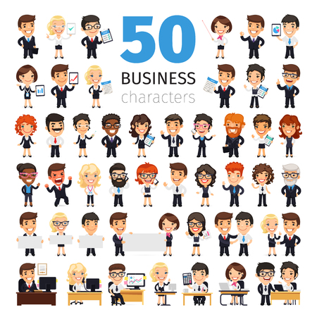 set: Big set of 50 business people and other office workers. Isolated on white background. Clipping paths included.