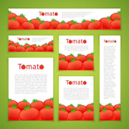 ration: Set of banners with tomatos on green background. Clipping paths included.