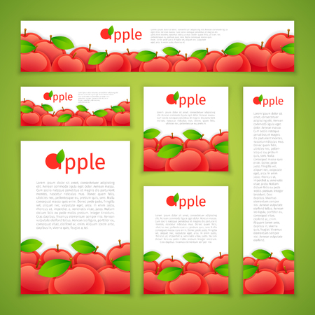 ration: Set of banners with apples on green background. Clipping paths included.