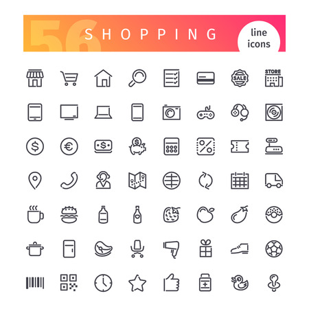 Set di 56 icone line shopping adatto per il web, infografica e applicazioni. Isolato su sfondo bianco.