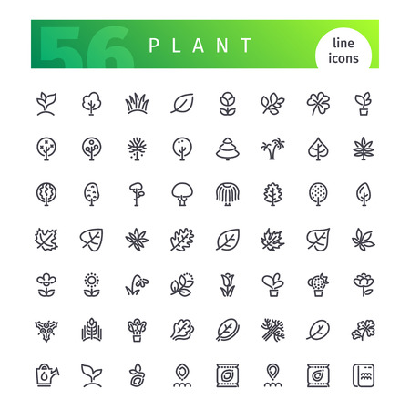 Ensemble de 56 icônes de lignes de plantes adaptées à gui, web, infographies et applications. Isolé sur fond blanc. Chemins de coupure inclus.