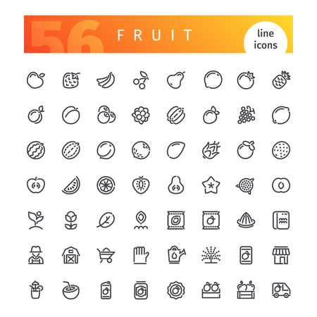 raspberry: Set of 56 fruit line icons suitable for gui, web, infographics and apps. Isolated on white background.