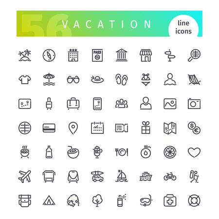 Set di 56 icone di vacanza linea adatto per GUI, il web, infografica e applicazioni. Isolato su sfondo bianco.