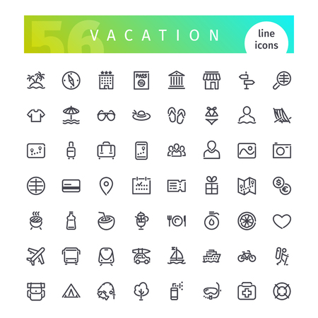 Zestaw 56 linii wakacje odpowiednie ikony gui, www, infografiki i aplikacji. Pojedynczo na białym tle.