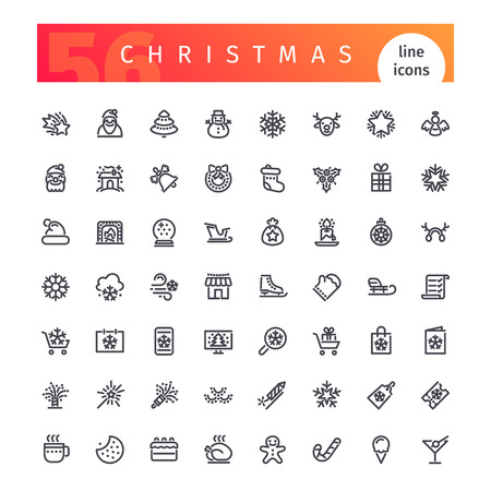 christmas winter: Set of 56 Christmas line icons suitable for gui, web, infographics and apps.