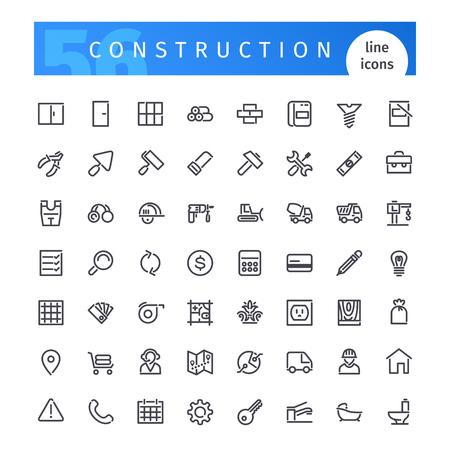 cemento: Conjunto de 56 iconos de la línea de construcción adecuada para web, infografía y aplicaciones. Aislado en el fondo blanco. incluyen máscaras de recorte.