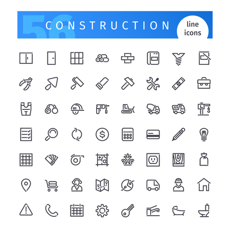 cement wall: Set of 56 construction line icons suitable for web, infographics and apps. Isolated on white background. Clipping paths included.