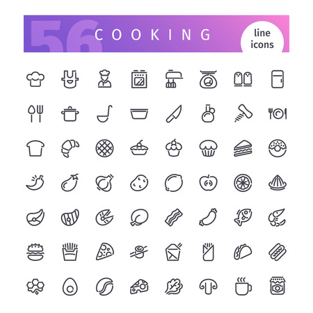 Set of 56 cooking line icons suitable for web, infographics and apps. Isolated on white background. Clipping paths included.  イラスト・ベクター素材