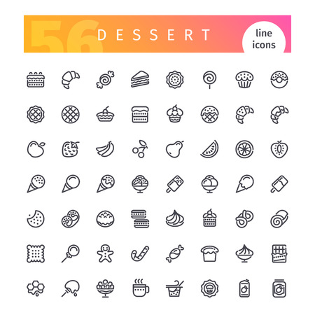 Set of 56 dessert and sweet pastry line icons suitable for web, infographics and apps. Isolated on white background. Clipping paths included.