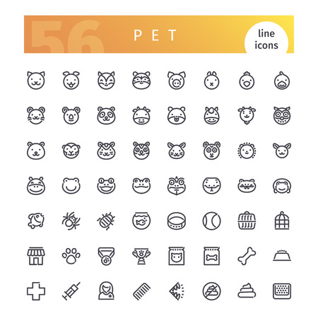 horse collar: Set of 56 pet line icons suitable for web, infographics and apps. Isolated on white background. Clipping paths included. Illustration
