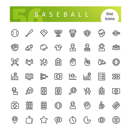 inning: Set of 56 baseball line icons suitable for web, infographics and apps. Isolated on white background. Clipping paths included.