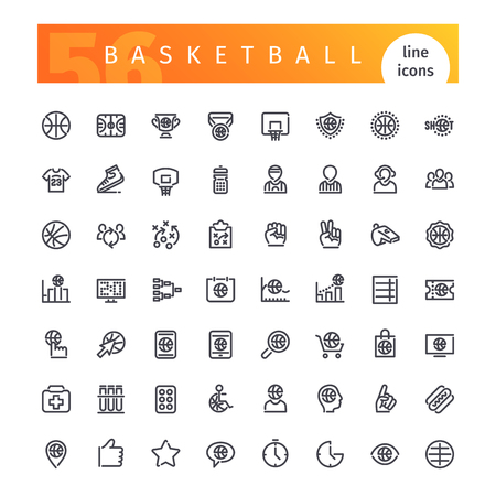 inning: Set of 56 basketball line icons suitable for web, infographics and apps. Isolated on white background. Clipping paths included.