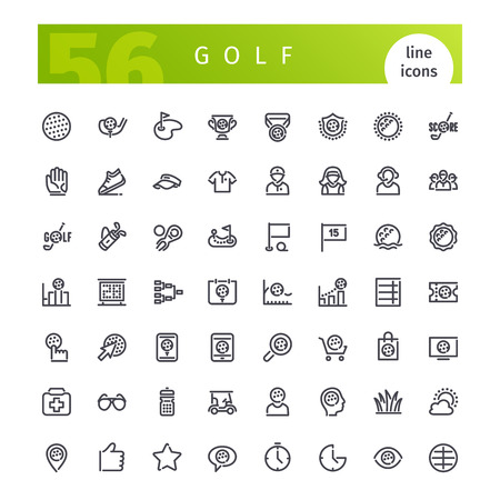Set of 56 golf line icons suitable for web, infographics and apps. Isolated on white background. Clipping paths included.