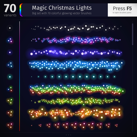 bright lights: Big set with 70 colorful glowing magic Christmas lights for celebratory design. Bright abstract blurred vector brushes. Used pattern brushes included.