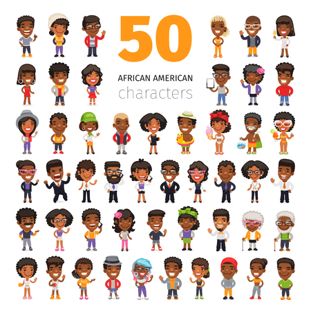 Big set of 50 african american characters in business and casual clothes. Isolated on white background. Clipping paths included.