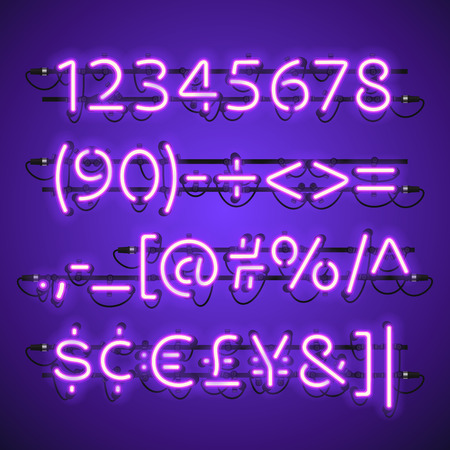 fastening: Glowing Neon Violet Numbers. Used pattern brushes included. There are fastening elements in a symbol palette. Illustration