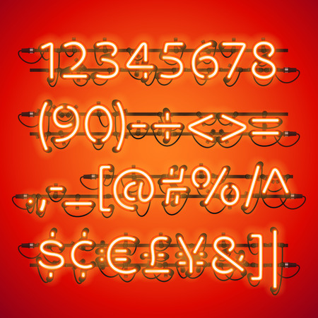 fastening: Glowing Neon Red Numbers. Used pattern brushes included. There are fastening elements in a symbol palette.