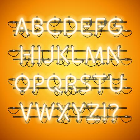 Neón que brilla intensamente amarillo miel del alfabeto. pinceles de motivo utilizadas incluyeron. Hay elementos de fijación en una paleta de símbolos. Vectores