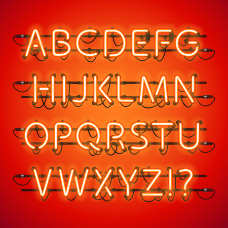 fastening: Glowing Neon Red Alphabet. Used pattern brushes included. There are fastening elements in a symbol palette.