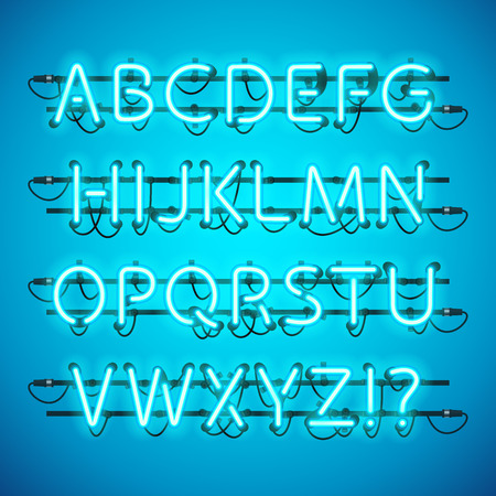fastening: Glowing Neon Azure Blue Alphabet. Used pattern brushes included. There are fastening elements in a symbol palette.