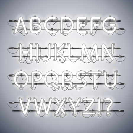 fastening: Glowing Neon Silver Alphabet. Used pattern brushes included. There are fastening elements in a symbol palette.