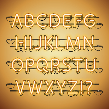 fastening: Glowing Neon Golden Alphabet. Used pattern brushes included. There are fastening elements in a symbol palette. Illustration