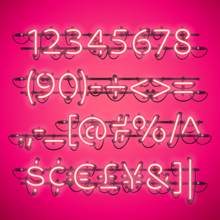fastening: Glowing Neon Pink Numbers. Used pattern brushes included. There are fastening elements in a symbol palette.