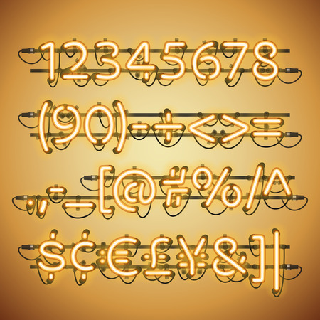 fastening: Glowing Neon Golden Numbers. Used pattern brushes included. There are fastening elements in a symbol palette. Illustration