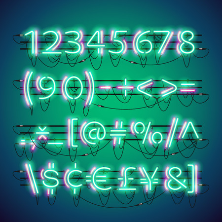 fastening: Glowing double neon green numbers and currency symbols set. Used neon brushes included. There are fastening elements in a symbol palette. Illustration