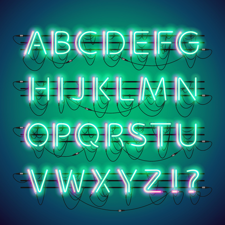 fastening: Glowing double neon green alphabet set. Used neon brushes included. There are fastening elements in a symbol palette. Illustration