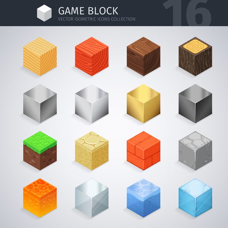 ice brick: Isometric Material Cubes Illustration