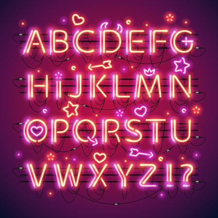 tubos fluorescentes: Doble resplandeciente rojo de neón del alfabeto
