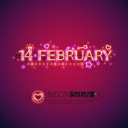 tubos fluorescentes: 14 de febrero de neón que brilla intensamente