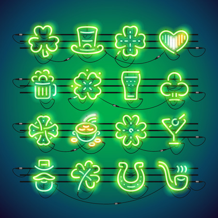 patrick: St Patrick Neon Icons Illustration