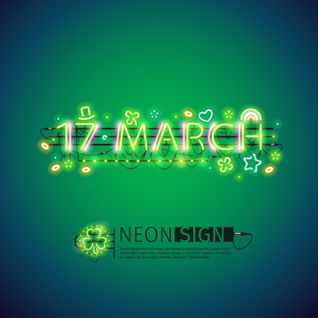 march 17: Glowing Neon 17 March Poster