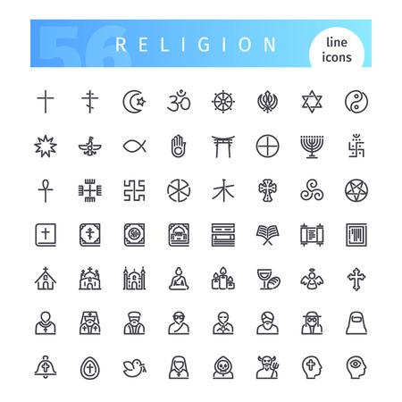 Religion Line Icons Set