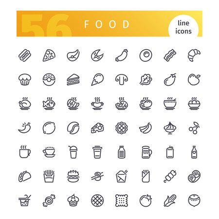 Food Line Icons Set Vectores