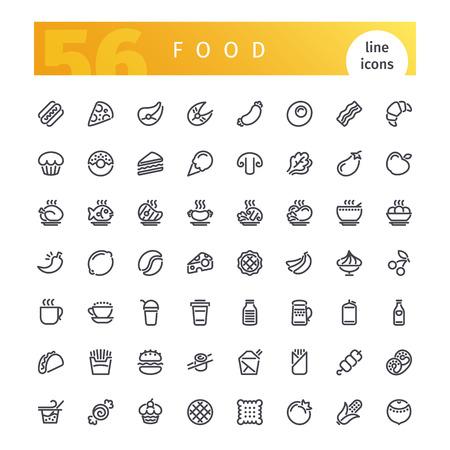 Zestaw ikon żywności linii Ilustracje wektorowe