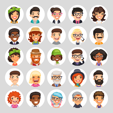 Flat Cartoon Round Avatars on White 일러스트